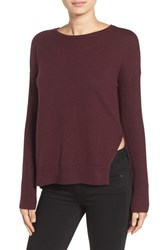 Trouve Women's Asymmetrical Hem Sweater Burgundy Stem