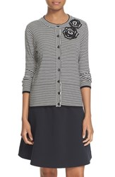 Kate Spade Women's New York Rosette Stripe Cotton Blend Cardigan Black