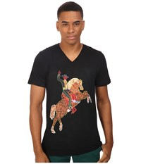 Life Is Beautiful Neon Horse V Neck Tee Black T Shirt
