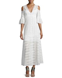 Nanette Lepore Cold Shoulder Cotton Lace Midi Dress Ivory