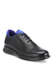 Cole Haan Perforated Two Tone Leather Oxfords Black