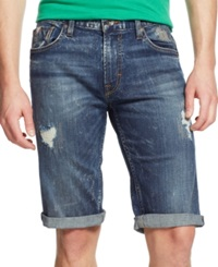 Guess Regular Fit Straight Rolled Denim Shorts Panorama Wash