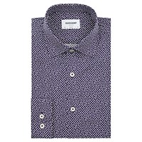 Duchamp Mini Card Print Slim Fit Shirt Navy