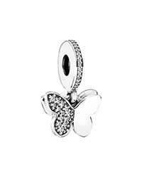 Pandora Design Pandora Dangle Charm Sterling Silver And Cubic Zirconia Flutter Butterflies Moments Collection