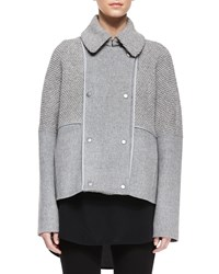 Vince Sherpa Double Breasted Boucle Wool Peacoat Men's Size Small Heather Gray