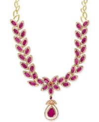 Effy Collection Effy Ruby 14 1 10 Ct. T.W. And Diamond 2 3 4 Ct. T.W. Fancy Collar Necklace In 14K Gold Red