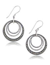 Lord And Taylor Marcasite Sterling Silver Braided Circle Earrings