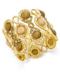 Inc International Concepts Gold Tone Large Stone And Crystal Decorative Stretch Bracelet Only At Macy's
