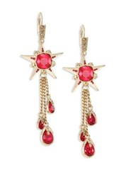 Alexander Mcqueen Star Skull Crystal Drop Earrings Gold Red