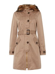 Lipsy Fur Collar Belted Mac Coat Stone