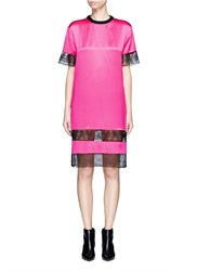 Givenchy Floral Lace Trim Silk Satin Dress Pink