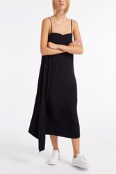 Helmut Lang Strappy Satin Dress Navy