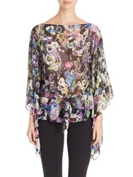 Roberto Cavalli Floral Print Belted Tunic Black Astro