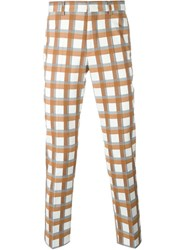 Msgm Checked Trousers White