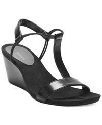 Style And Co. Mulan Wedge Sandals Women's Shoes Black Suede