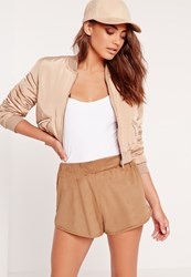 Missguided Faux Suede Runner Shorts Camel Brown