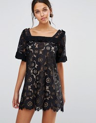 For Love And Lemons Sonya Babydoll Lace Ruffle Dress Black Blue