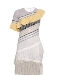 Peter Pilotto Octave Asymmetric Ruffle Lace Dress White Multi