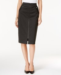Grace Elements Zipper Front Pencil Skirt Charcoal Heather W Gunmetal Zip