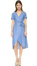 7 For All Mankind Denim Wrap Dress Clear Water Blue
