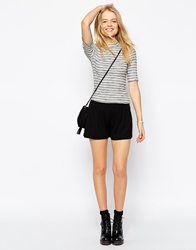 Asos Pleated Culotte Shorts Black