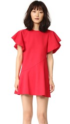 Goen.J Ruffle Sleeve Dress Red
