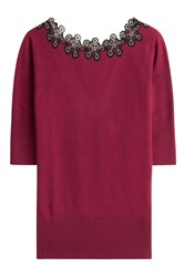 Etro Wool Cashmere Pullover With Embroidery Red