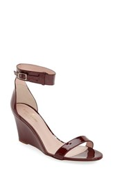 Women's Kate Spade New York 'Ronia' Wedge Sandal Red Chestnut Patent