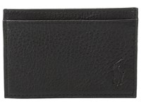 Polo Ralph Lauren Pebble Leather Slim Card Case Black Credit Card Wallet