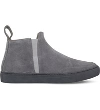 Blood Brother Shen Mid Top Suede Trainers Grey