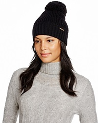 Michael Kors Waffle Stitch Hat With Pom Pom 100 Bloomingdale's Exclusive Black