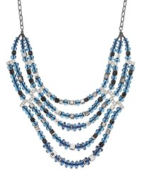 Inc International Concepts Hematite Tone Blue Multi Bead Frontal Necklace