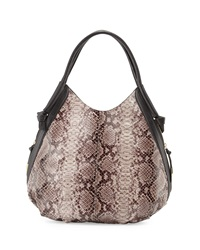 Foley Corinna Sequoia Snake Embossed Leather Hobo Bag Serpentine