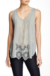 Johnny Was Lace Tank Gray