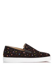 Christian Louboutin Bolt Embellished Suede Trainers