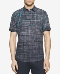 Calvin Klein Men's Scribble Print Short Sleeve Shirt Black