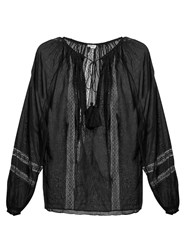 Talitha French Lace Tassel Top Black