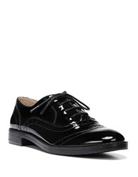 Franco Sarto Imagine Stacked Patent Leather Heel Wingtip Oxfords Black