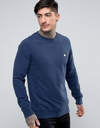 Pretty Green Foxlair Crew Sweat Slim Fit Small Logo In Navy Navy