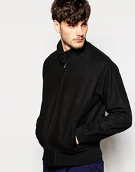 Asos Funnel Neck Wool Harrington Jacket Black