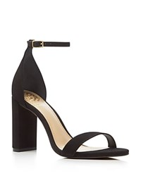 Vince Camuto Mairana Perforated Ankle Strap High Heel Sandals Black