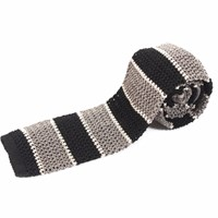 Nick Bronson Knitted Silk Stripe Tie Charcoal Grey