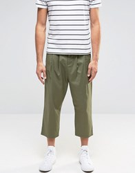 Asos Slim Cropped Trousers With Pleats In Khaki Khaki Green