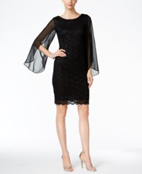 Connected Illusion Angel Sleeve Lace Sheath Dress Black