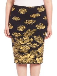 Stizzoli Plus Size Classic Fit Floral Skirt Black Yellow