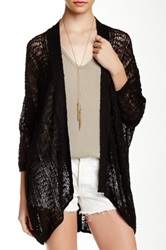14Th And Union Pointelle Easy Cardigan Black
