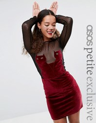 Asos Petite Halloween Velvet Cat Bodycon Dress With Dobby Lace Red Black