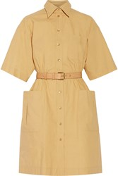 Moschino Belted Cotton Shirt Dress Yellow