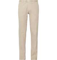 Brioni Brushed Stretch Cotton Trousers Neutrals