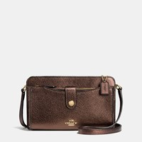 Coach Messenger With Pop Up Pouch In Pebble Leather Light Gold Bronze